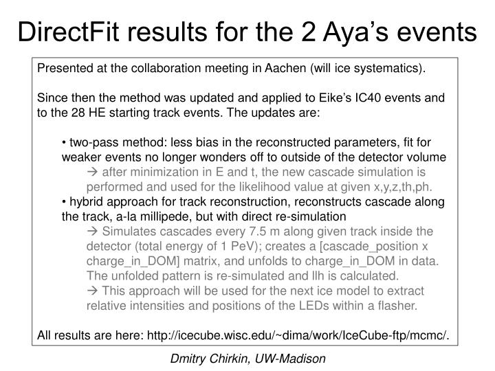Directfit results for the 2 aya s events