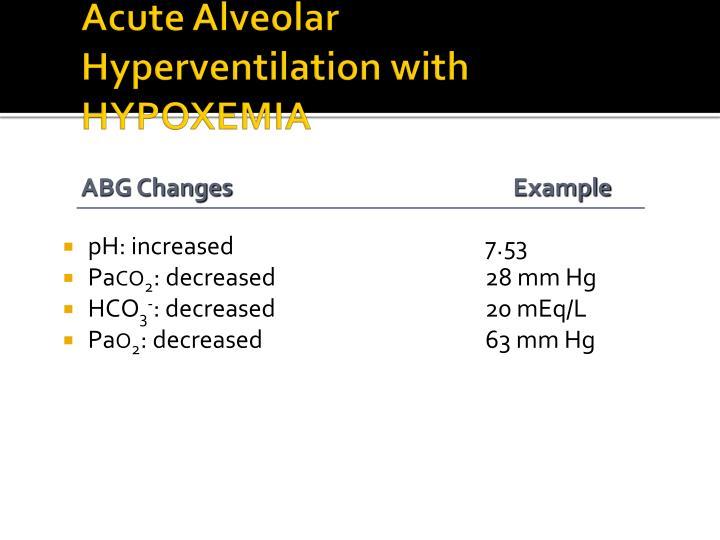 Acute Alveolar Hyperventilation with HYPOXEMIA