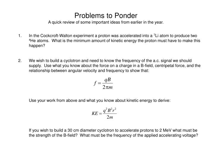 Problems to Ponder