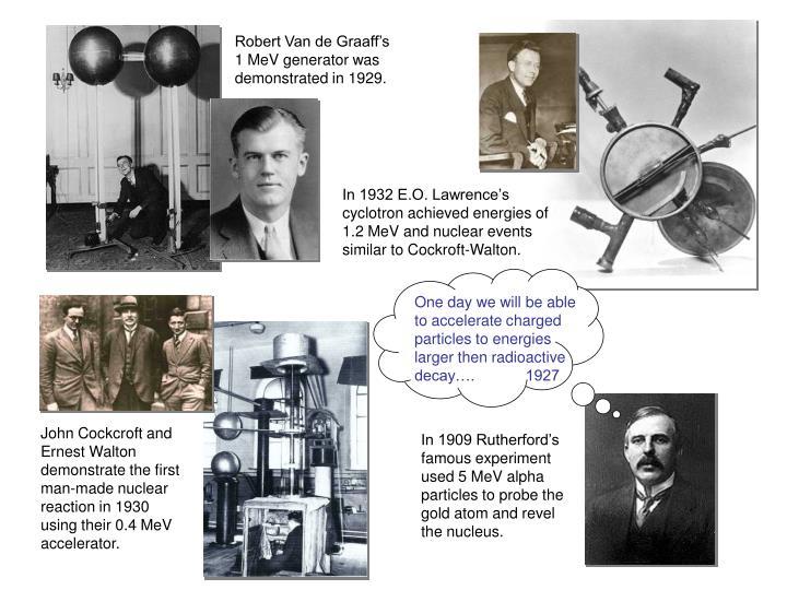 Robert Van de Graaff's 1 MeV generator was demonstrated in 1929.