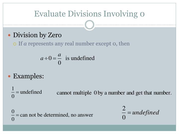 Evaluate Divisions Involving 0