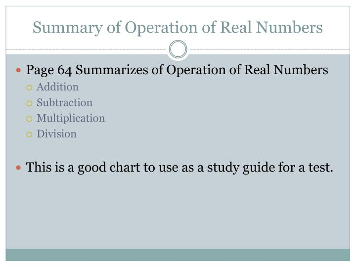 Summary of Operation of Real Numbers