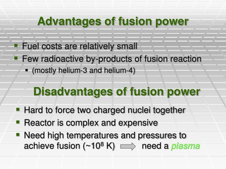 Advantages of fusion power