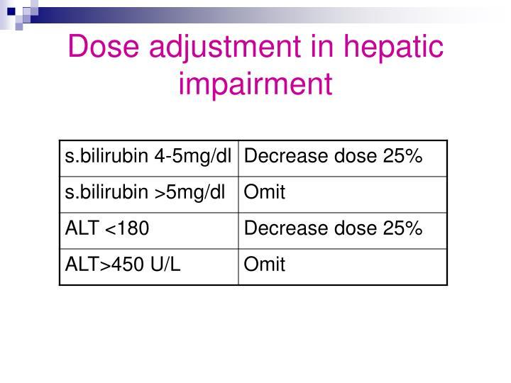 Dose adjustment in hepatic impairment