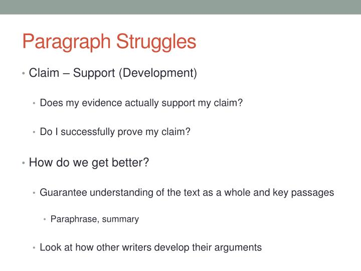Paragraph Struggles