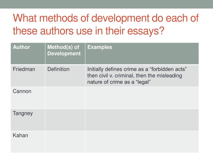 What methods of development do each of these authors use