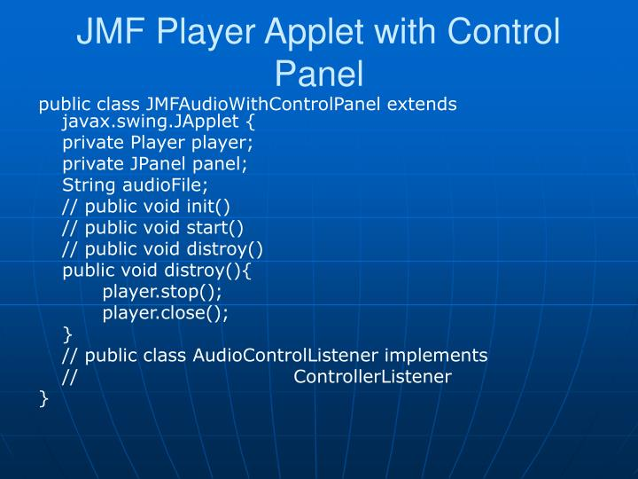 JMF Player Applet with Control Panel