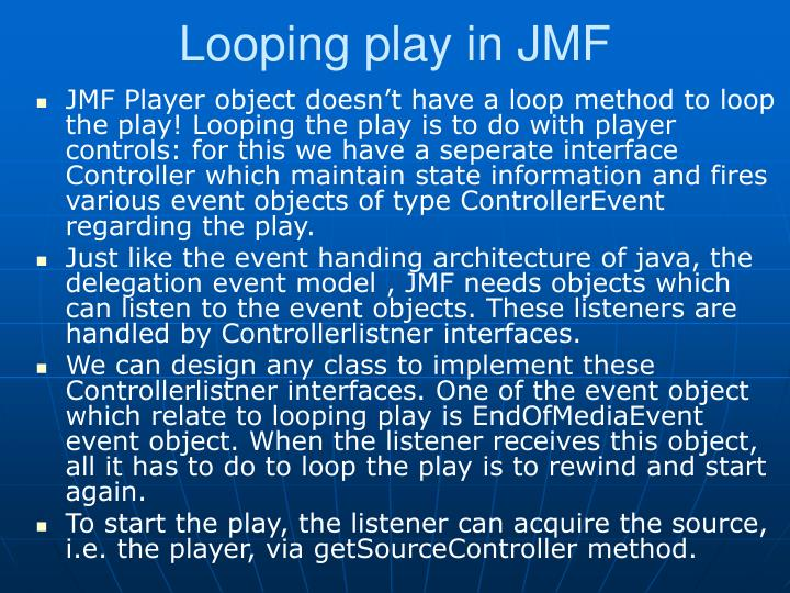 Looping play in JMF