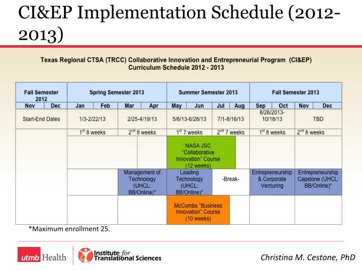 CI&EP Implementation Schedule (2012-2013)