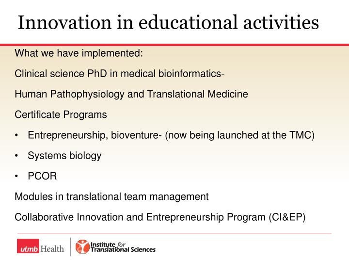 Innovation in educational activities
