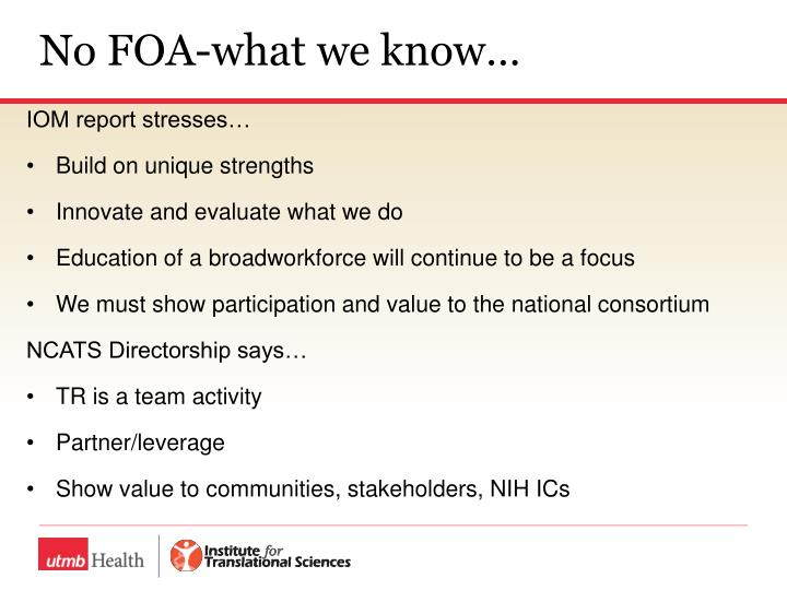 No FOA-what we know…