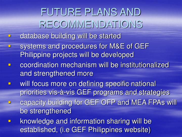 FUTURE PLANS AND RECOMMENDATIONS