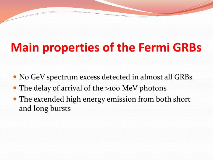 Main properties of the Fermi GRBs