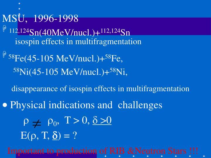 MSU,  1996-1998