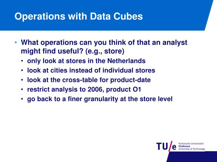 Operations with Data Cubes