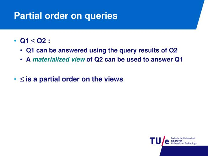 Partial order on queries