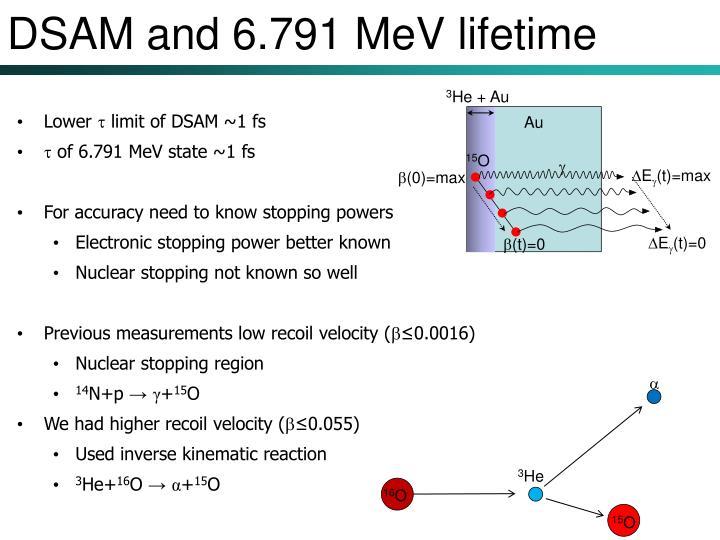 DSAM and 6.791 MeV lifetime
