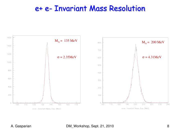 e+ e- Invariant Mass Resolution