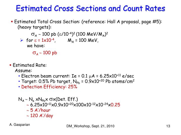 Estimated Cross Sections and Count Rates