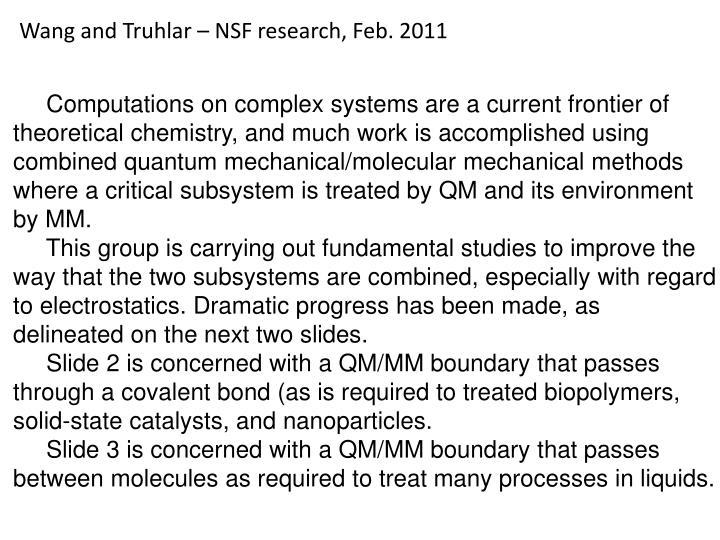 Wang and Truhlar – NSF research, Feb. 2011