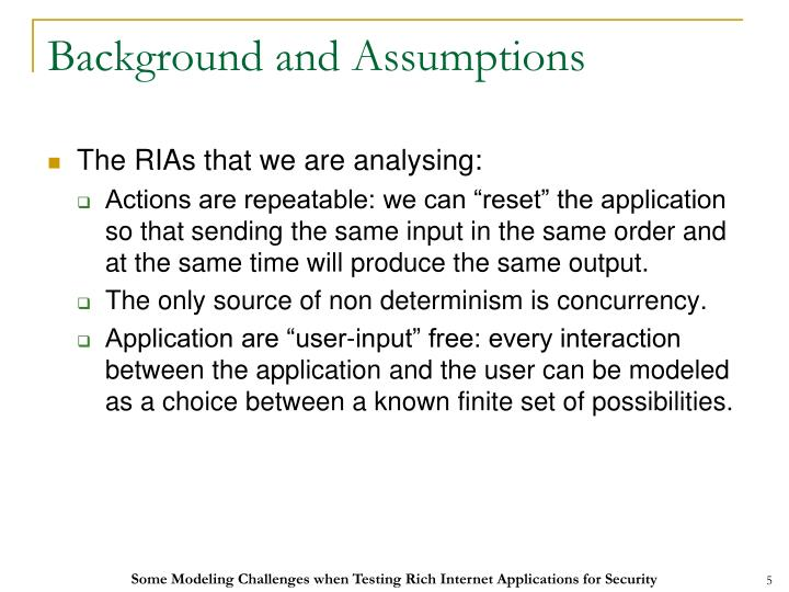 Background and Assumptions