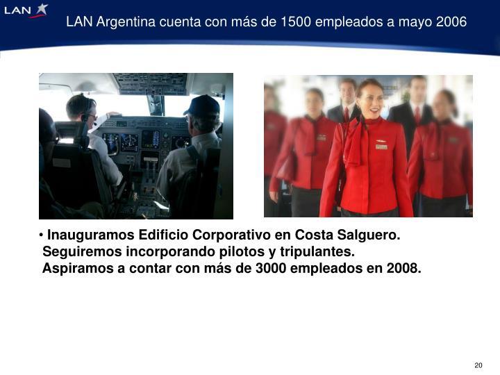 LAN Argentina cuenta con más de 1500 empleados a mayo 2006