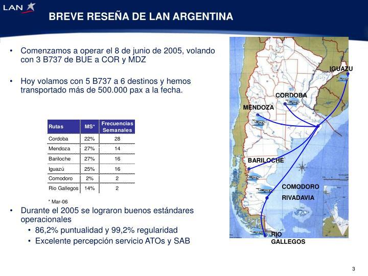 BREVE RESEÑA DE LAN ARGENTINA