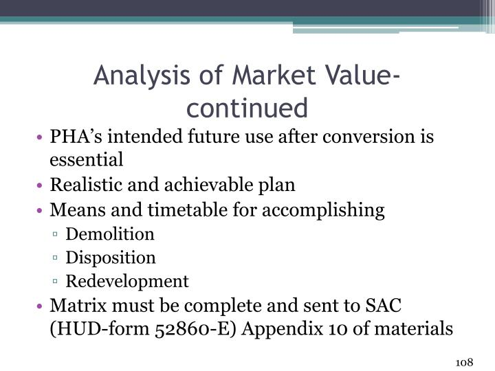 Analysis of Market Value- continued