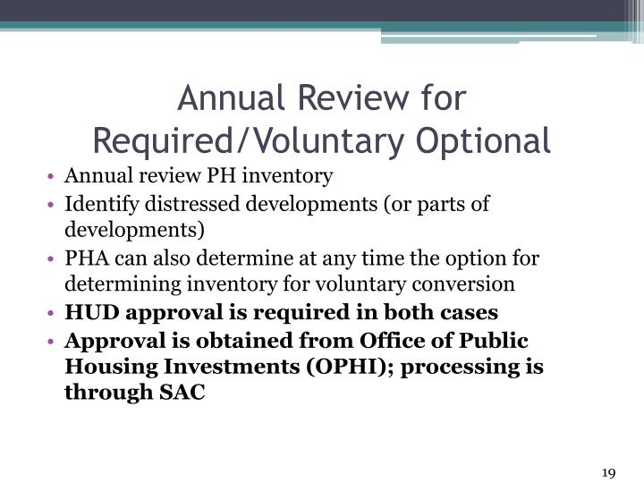 Annual Review for Required/Voluntary Optional