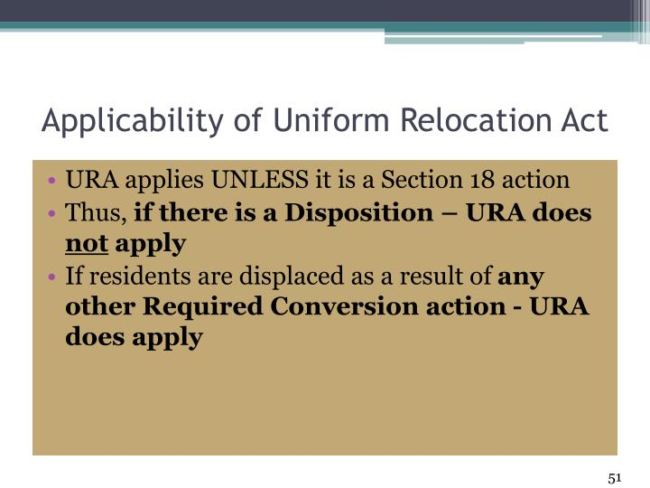 Applicability of Uniform Relocation Act