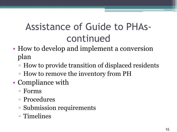 Assistance of Guide to PHAs- continued