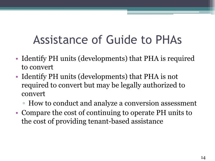 Assistance of Guide to PHAs