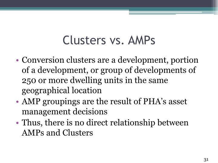 Clusters vs. AMPs