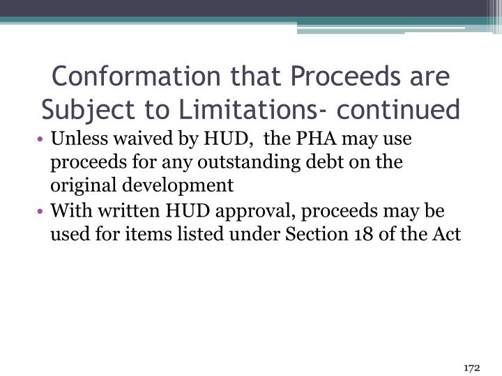Conformation that Proceeds are Subject to Limitations- continued