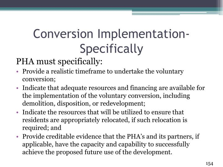 Conversion Implementation- Specifically