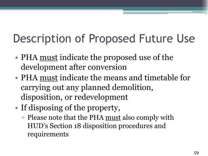 Description of Proposed Future Use