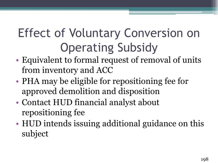 Effect of Voluntary Conversion on Operating Subsidy