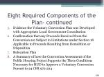 eight required components of the plan continued
