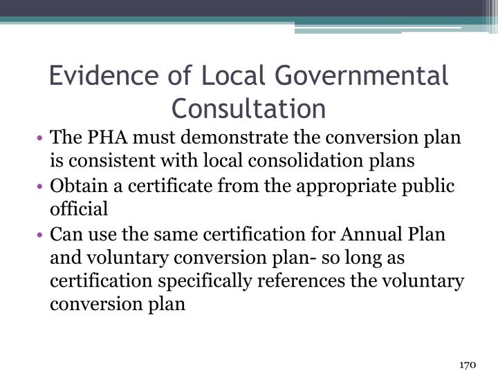 Evidence of Local Governmental Consultation
