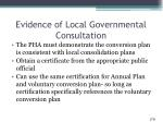 evidence of local governmental consultation1
