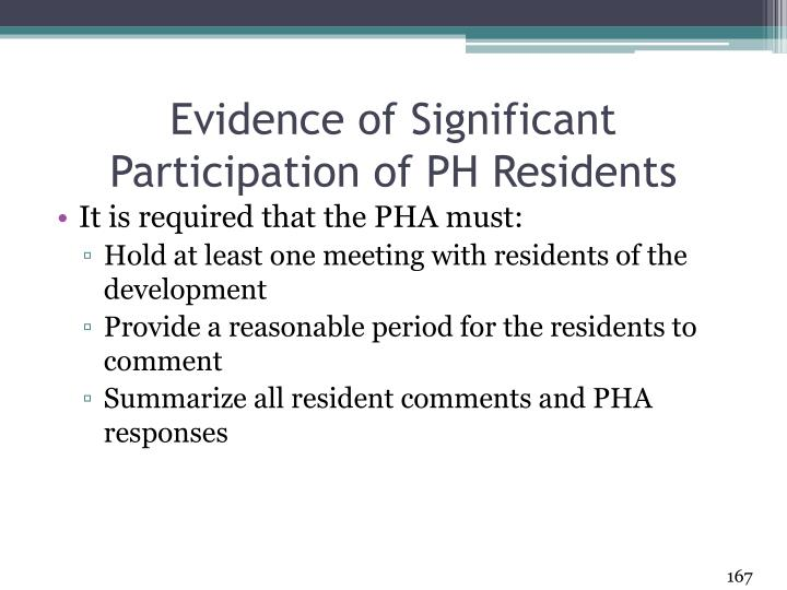 Evidence of Significant Participation of PH Residents