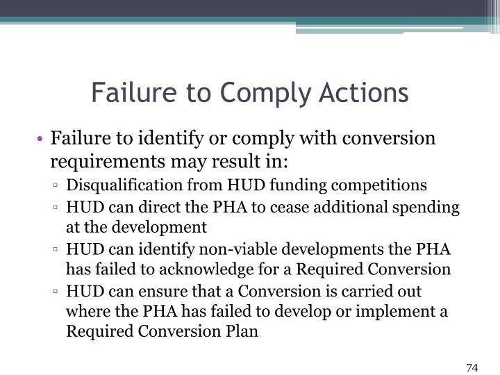 Failure to Comply Actions