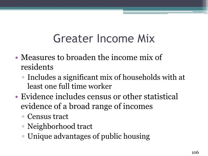 Greater Income Mix