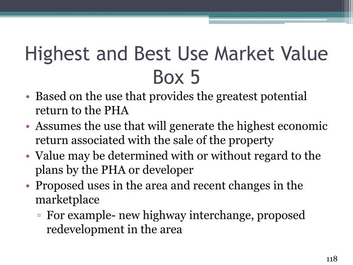 Highest and Best Use Market Value Box 5