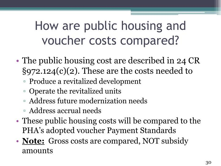 How are public housing and voucher costs compared?