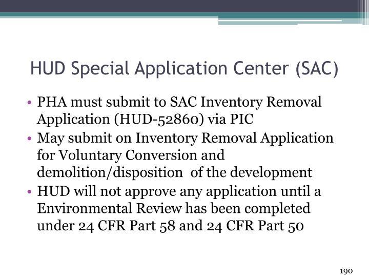 HUD Special Application Center (SAC)