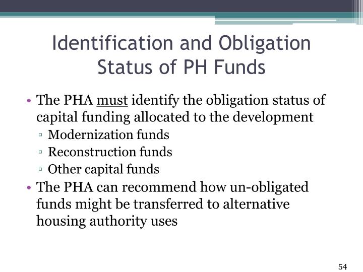 Identification and Obligation Status of PH Funds