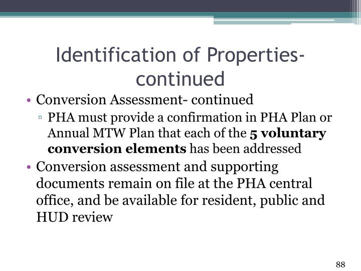 Identification of Properties- continued