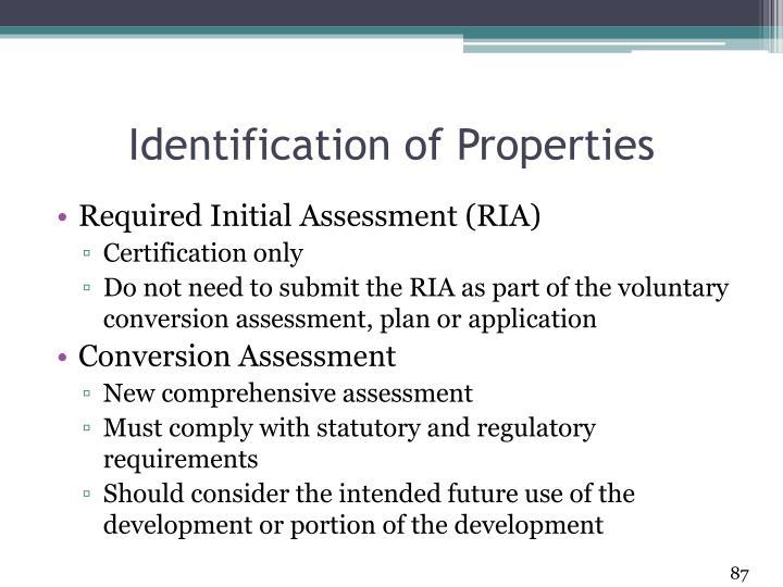 Identification of Properties