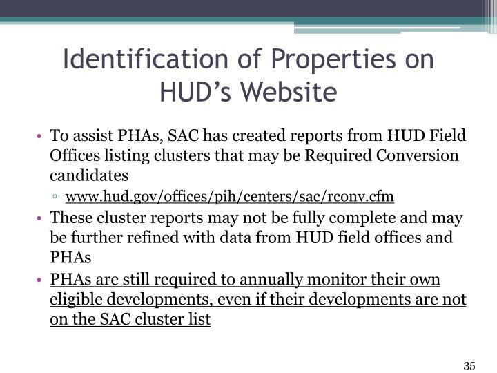 Identification of Properties on HUD's Website
